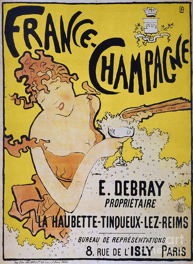 1891 Photograph - Champagne Poster, 1891 by Granger
