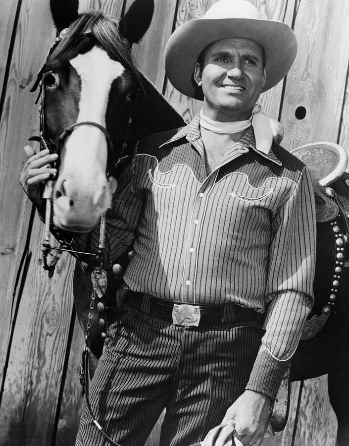 1950s Movies Photograph - Champion And Gene Autry by Everett
