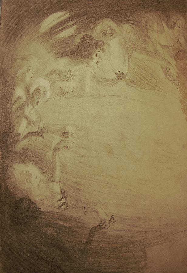 Steinlen Drawing - Chansons De Femmes - Chanson A Boire by Alexandre Theophile Steinlen