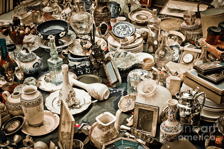 Old; Antique; Vintage; Retro; Background; Style; Art; Decor; Decorating; Decoration; Grunge; Antiquities; Object; Old-fashioned; Classic; Collection; Valuable; Junk; Together; Gathered;  Photograph - Chaos by Gabriela Insuratelu