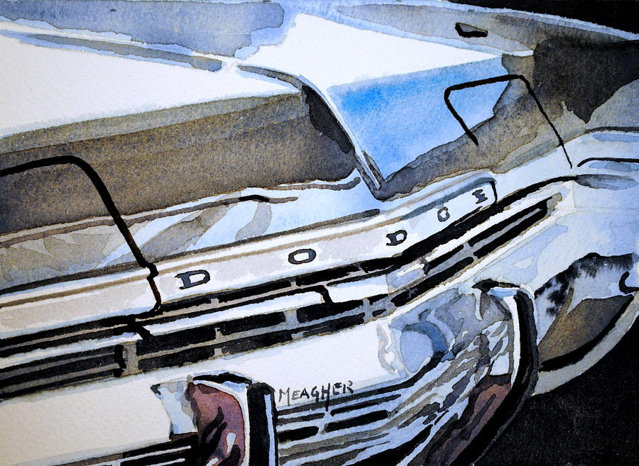 Dodge Monaco Painting - Charcoal Chrome And Blue by Spencer Meagher