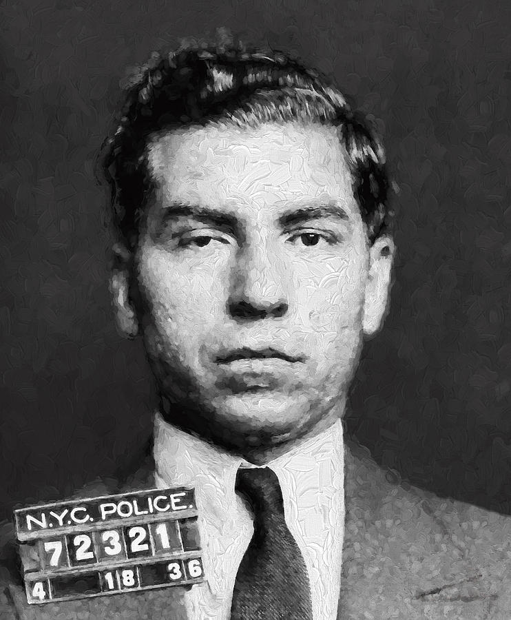 Charles Lucky Luciano Mugshot Painterly Digital Art By