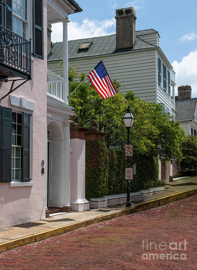 Charleston Church Street Paved In Brick Photograph