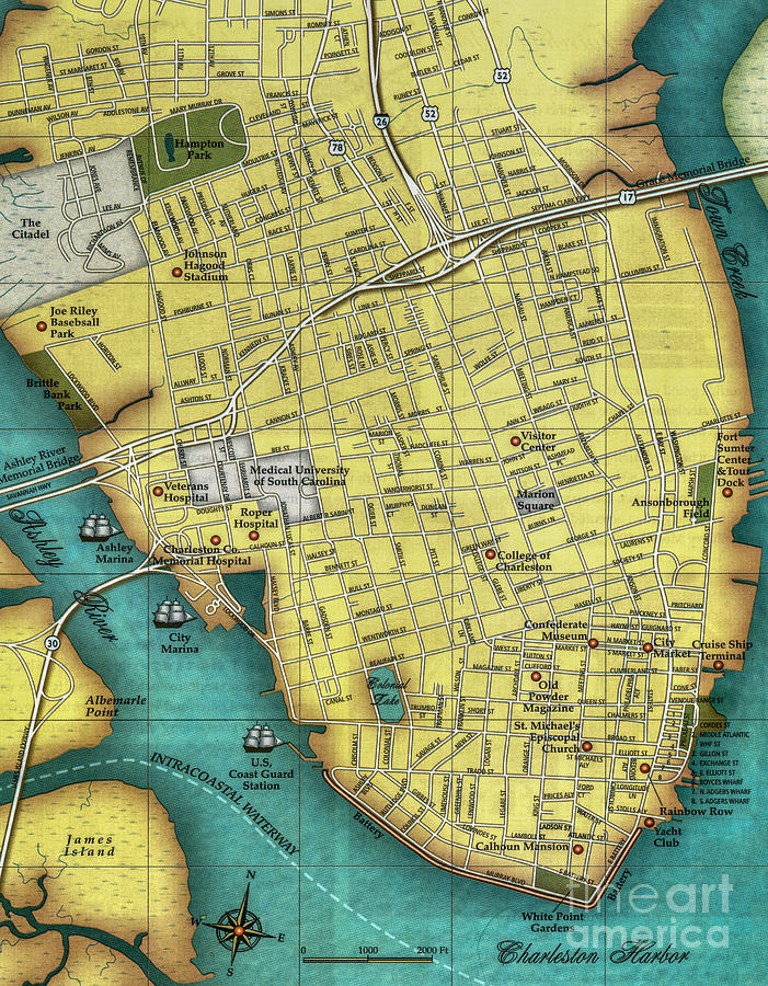 Charleston Sc Peninsula Map Photograph By Dale Powell