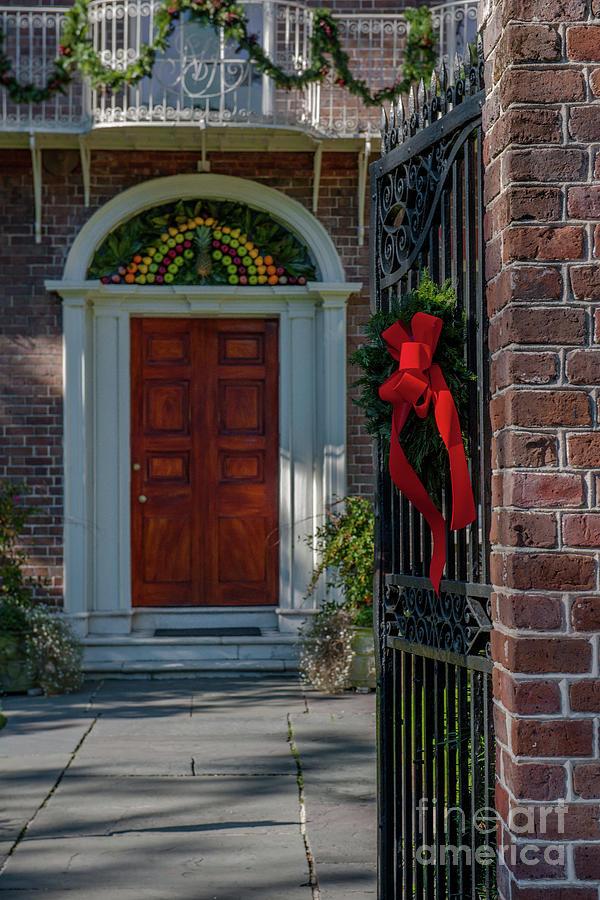 Charleston South Carolina Christmas Door Photograph