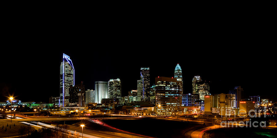 Charlotte Nc Photography Photograph - Charlotte Skyline Panoramic by Patrick Schneider