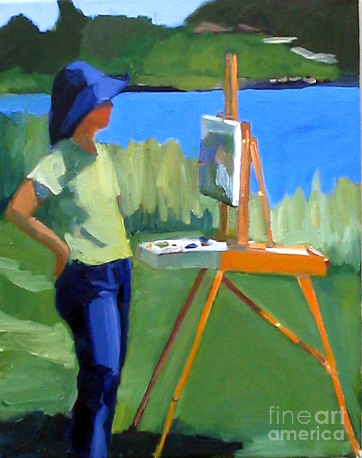 Painting Painting - Charyl Painting At Pope John Paul II Park by Deb Putnam