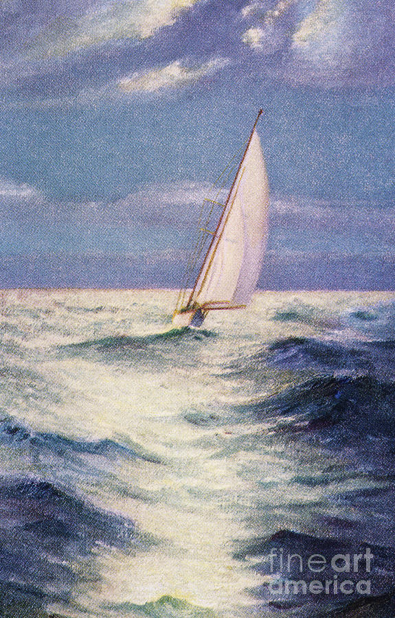 1935 Painting - Chas Marer - Sailboat by Hawaiian Legacy Archive - Printscapes