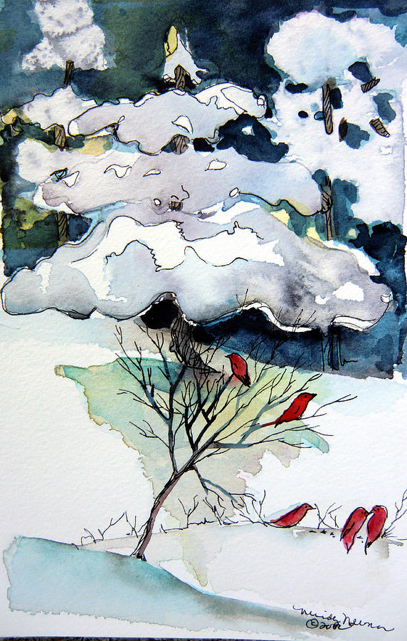 Winter Painting - Cheery Sounds On A Quiet Day by Mindy Newman