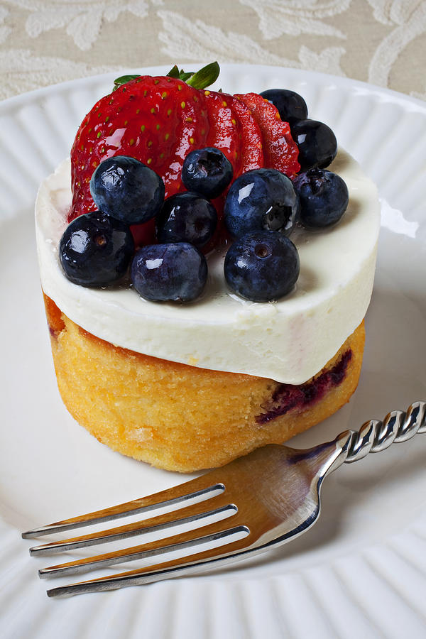 Fruit Tart Pie Pies Photograph - Cheese Cream Cake With Fruit by Garry Gay