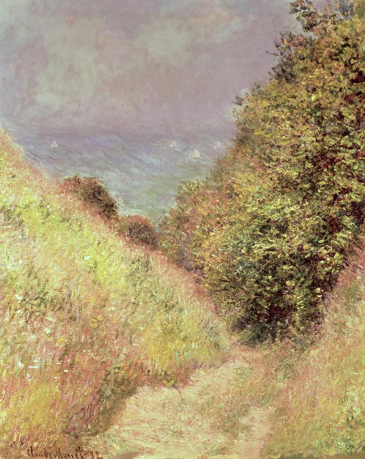 Impressionist; Landscape; Rural; Sea; Coastal; Valley; Upper Normandy; Durand-ruel Collection; Chemin De La Cavee Painting - Chemin De La Cavee Pourville by Claude Monet