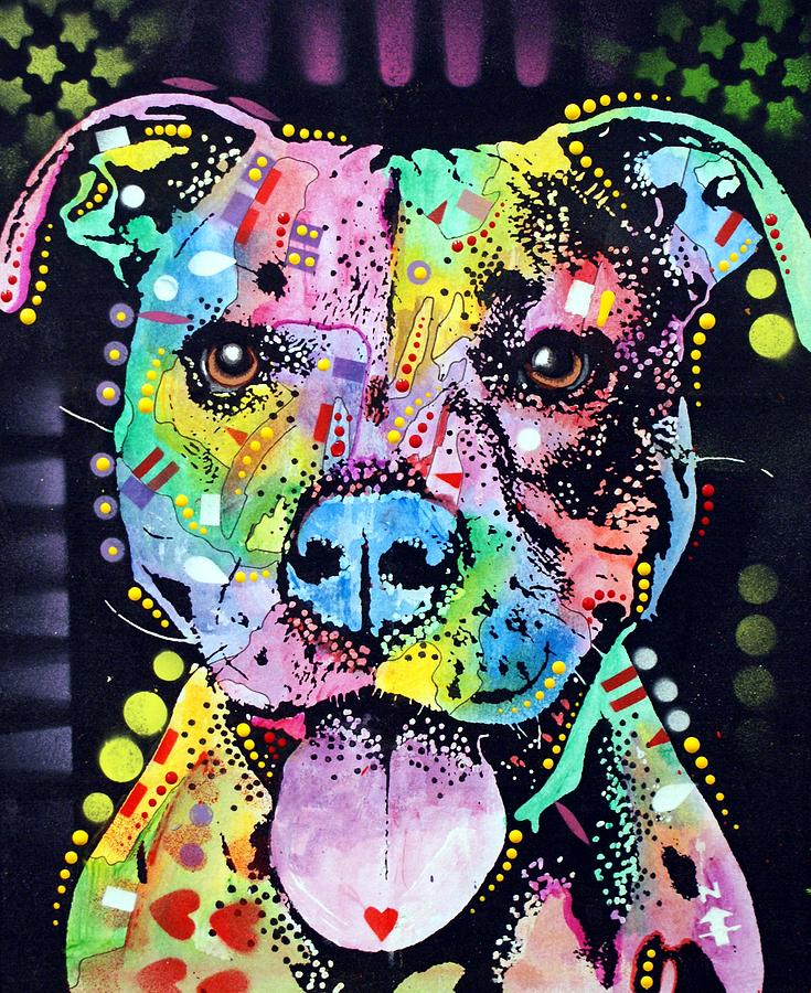 Cherish The Pitbull Painting by Dean Russo