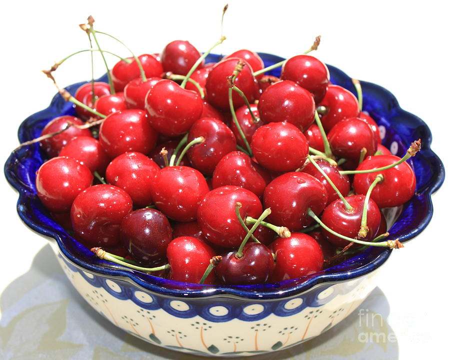 Cherries In Blue Bowl Photograph