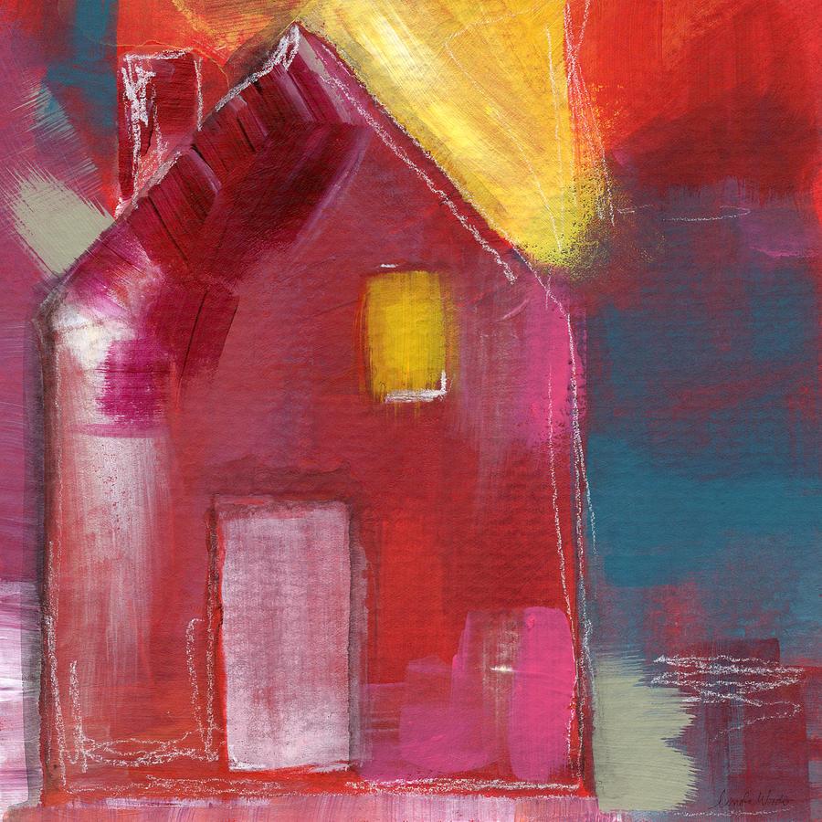 Cherry Blossom House- Art By Linda Woods Mixed Media