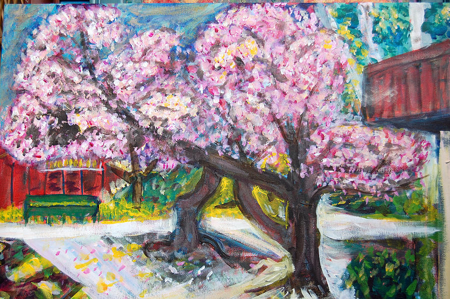 Cherry Tree Painting - Cherry Blossom Time by Carolyn Donnell