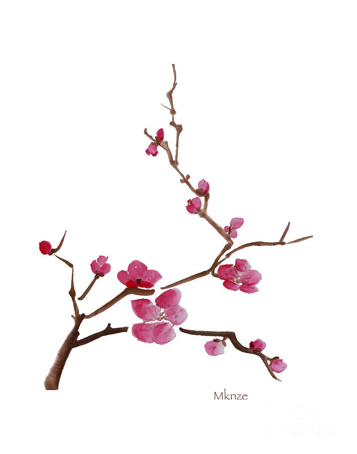 Oriental Flower Painting - Cherry Blossoms 1 by McKenzie Leopold