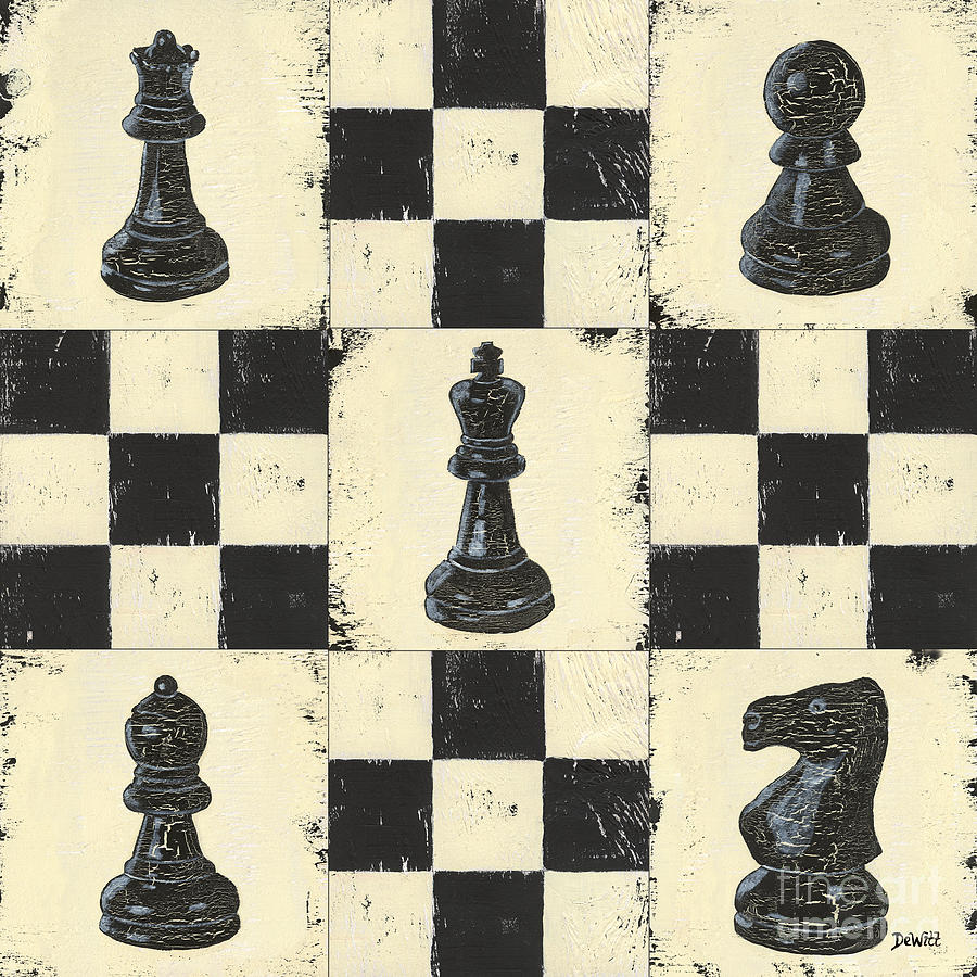 Chess Painting - Chess Pieces by Debbie DeWitt