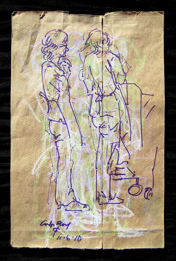 Radical Reconstruction Fine Art Mixed Media - Chestnut Vendors by Radical Reconstruction Fine Art Featuring Nancy Wood