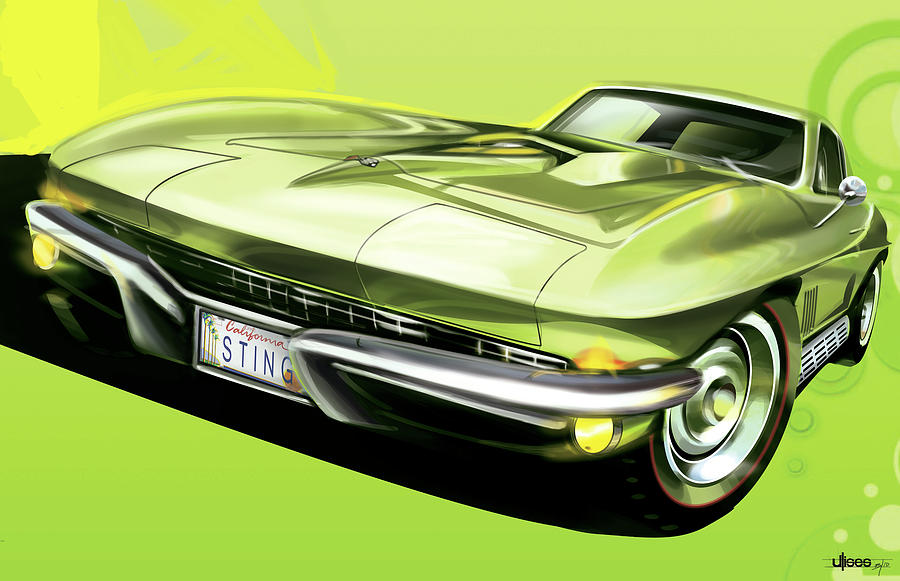Digital Artwork Painting - Chevrolet Corvette C2 Sting Ray by Uli Gonzalez