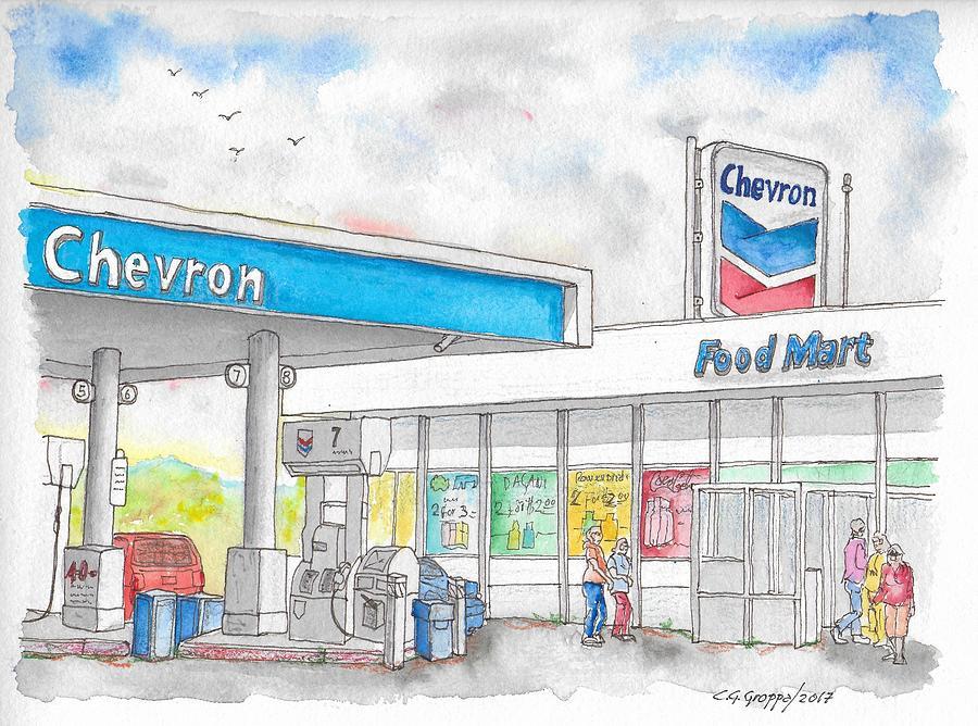 Chevron Food Mart In Ludlow, California Painting