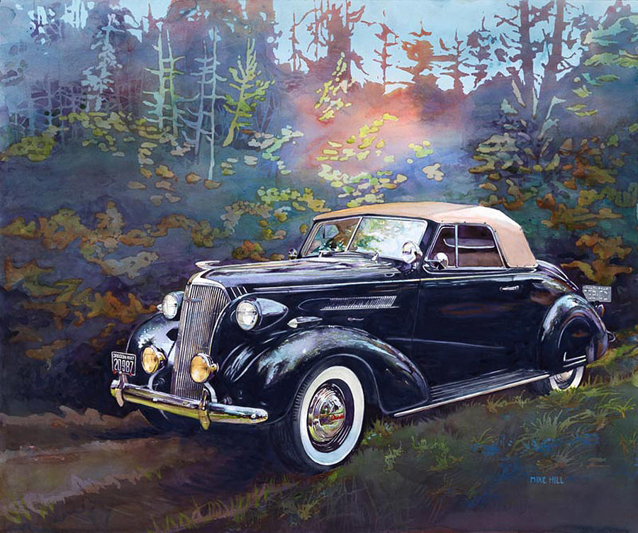 Chevrolet Chevy Chev Convertible Coupe Oregon Woods Forest Black Car Automobile Antique Collector Classic Watercolor Painting '37 1937 Thirties Whitewalls Fender Skirt Reflections Shiny  Painting - Chevy In The Woods by Mike Hill