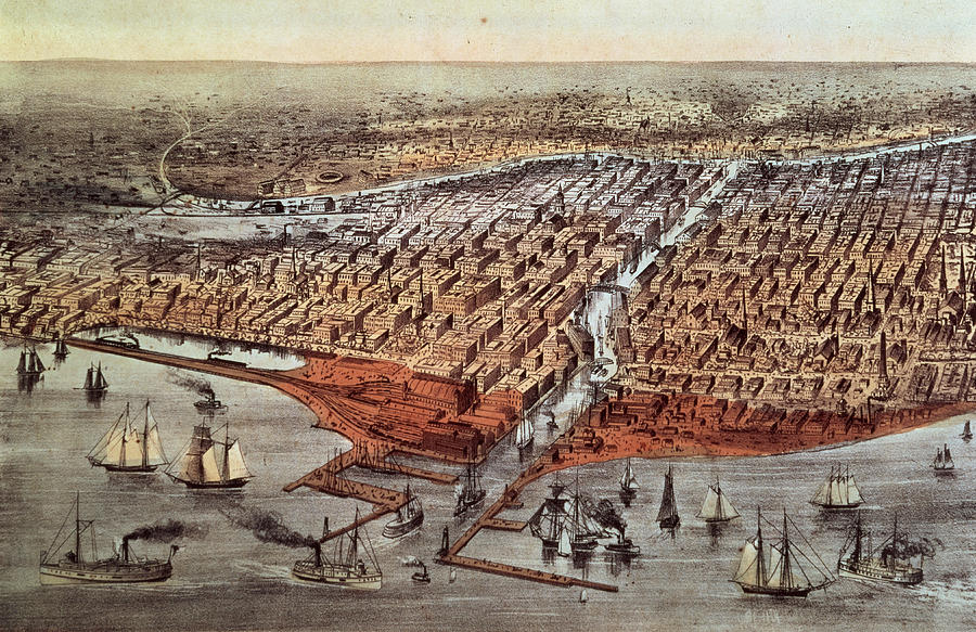 Xjl62055 Painting - Chicago As It Was by Currier and Ives