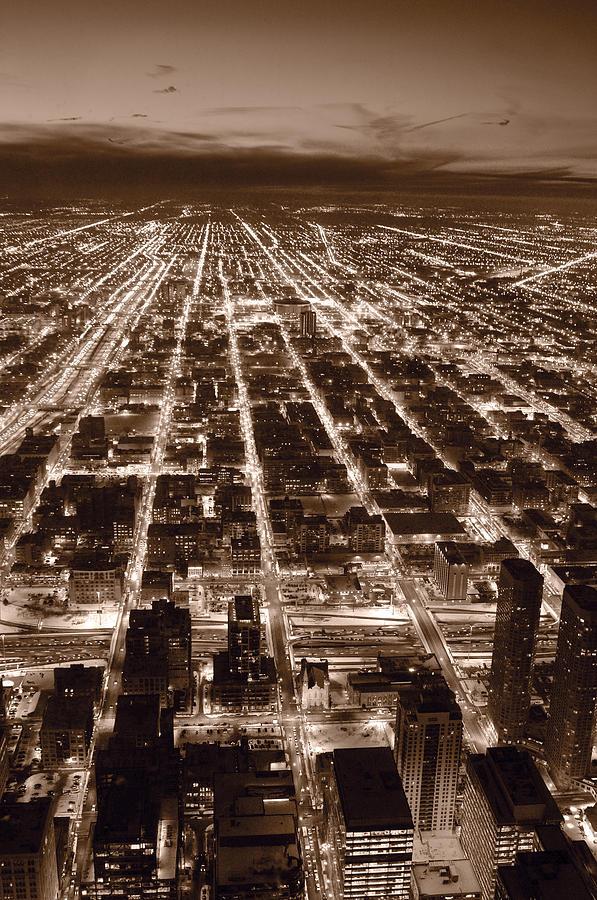 Aerial Photograph - Chicago City Lights West B W by Steve Gadomski
