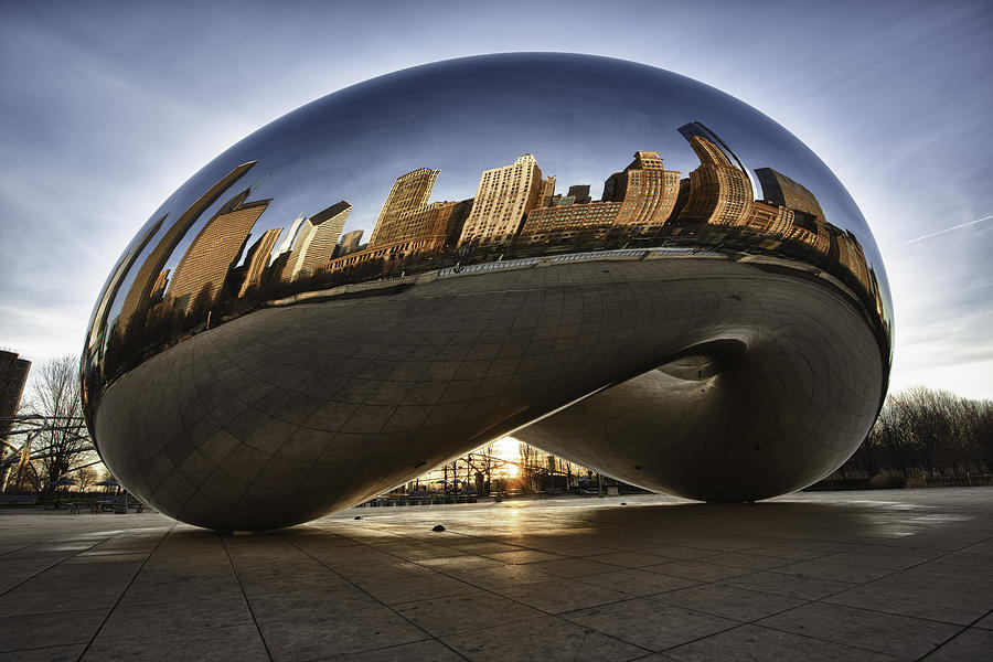 Architecture Photograph - Chicago Cloud Gate At Sunrise by Sebastian Musial