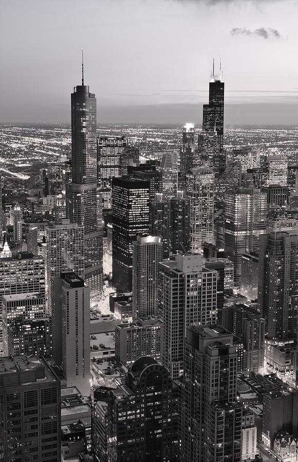 Aerial Photograph - Chicago Loop Sundown B And W by Steve Gadomski