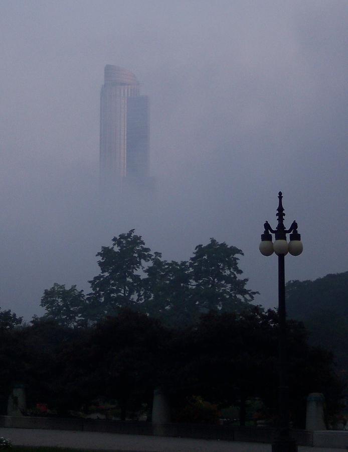 Fog Mist Chicago Evening Architecture City Photograph - Chicago Mist by Anna Villarreal Garbis