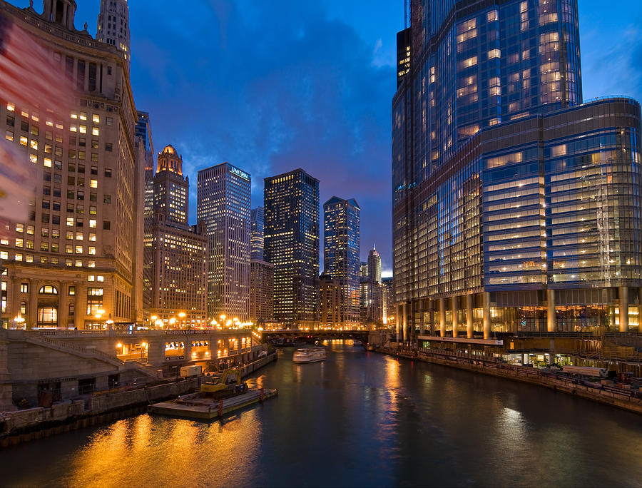 Chicago River Lights Photograph
