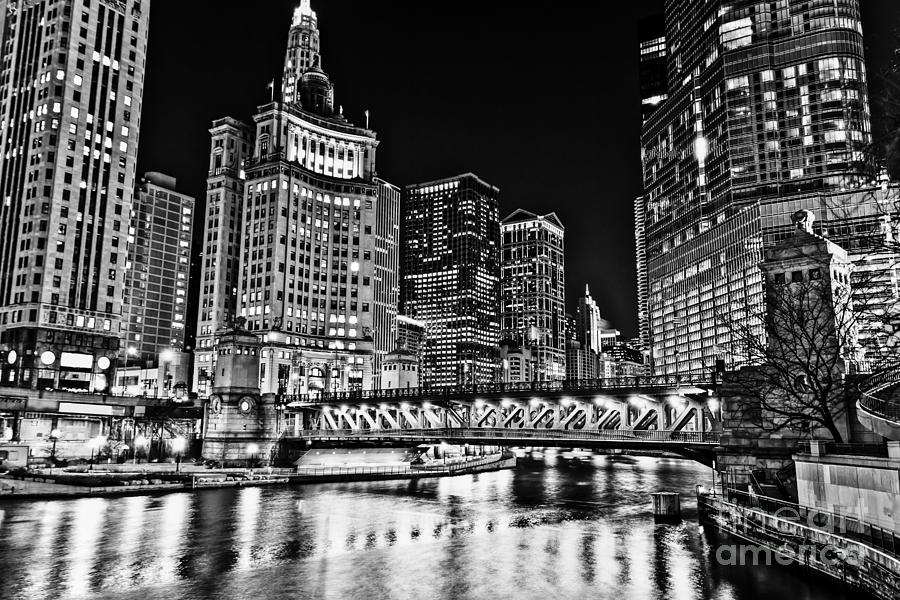 Chicago River Skyline At Night Picture Photograph