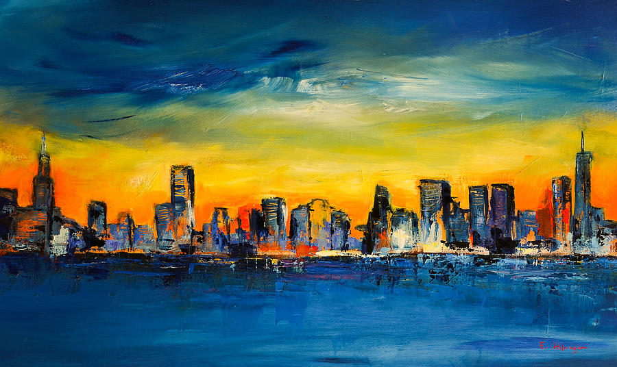 Chicago Skyline Painting By Elise Palmigiani