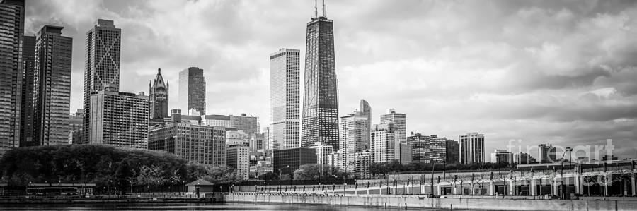 Chicago Skyline Panorama Black And White Photo Photograph