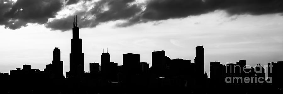 Chicago Skyline Silhouette Panorama Photo Photograph