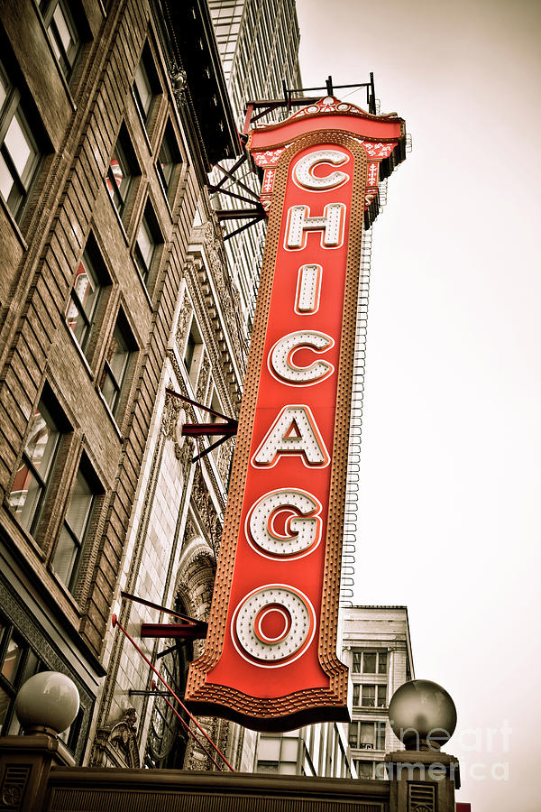 Chicago Photograph - Chicago Theater Sign Marquee by Paul Velgos