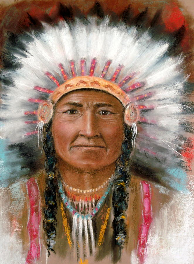 Native Art Pastel - Chief Joseph by John De Young