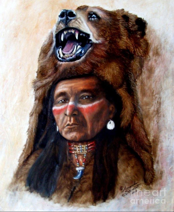Indian Chief Painting - Chief Running Bear by Amanda Hukill