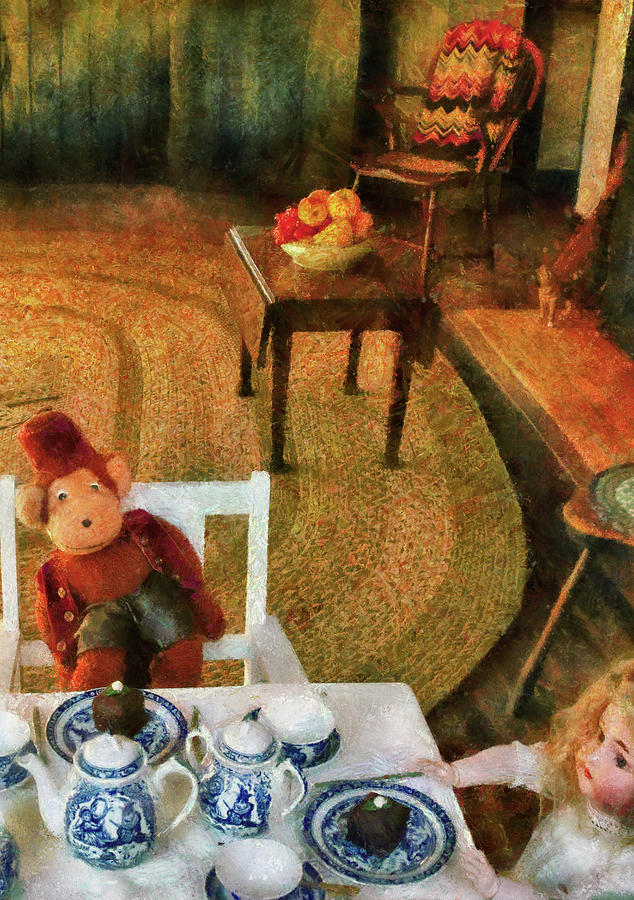 Savad Photograph - Children - Toys - The Tea Party by Mike Savad
