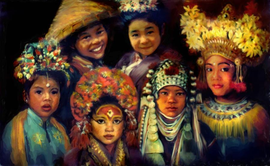 Children Painting - Children Of Asia by Jean Hildebrant