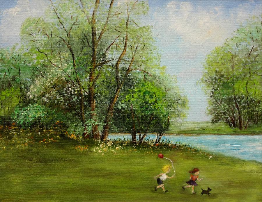 Children Painting - Children Running by Irene McDunn