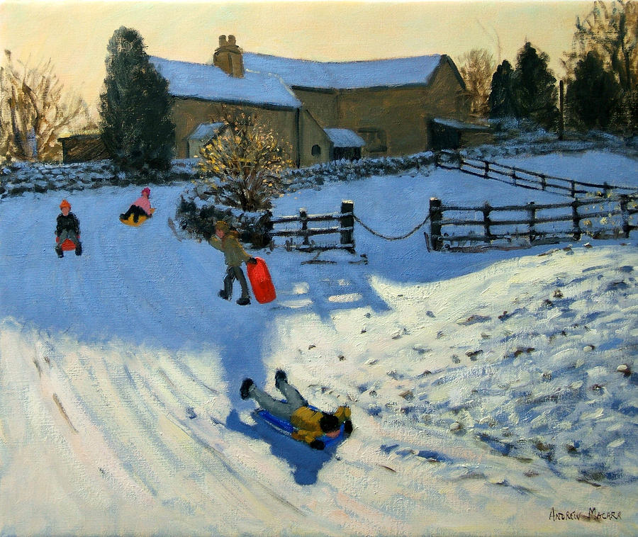Sledging Painting - Children Sledging by Andrew Macara