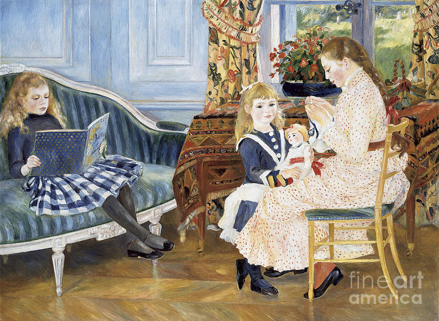 Interior; Family; Children; Child; Girl; Childhood; Female; Impressionism; Impressionist; Sewing; Reading; Playing; Tartan Skirt; Floral; Flowers; Seated; Sitting; Book; Doll; Toy Painting - Childrens Afternoon At Wargemont by Pierre Auguste Renoir
