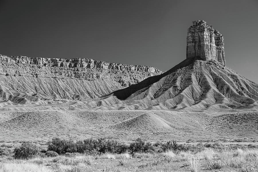 Chimney Rock In Black And White - Towaoc Colorado Photograph