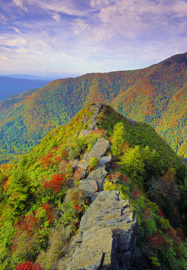 Chimney Tops Peak In Autumn Great Smoky Mountains National