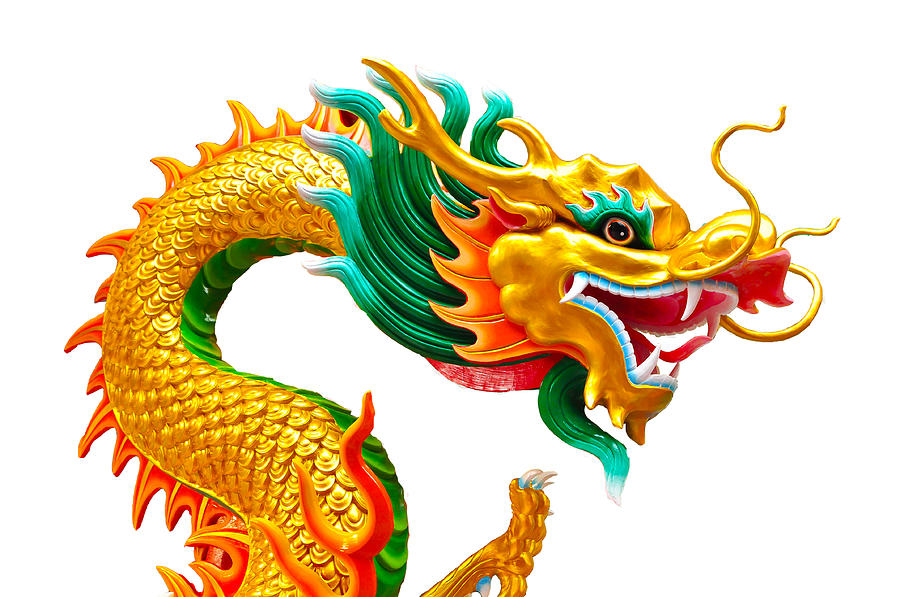 Ancient Sculpture - Chinese Beautiful Dragon Isolated On White Background by Nichapa Sornprakaysang