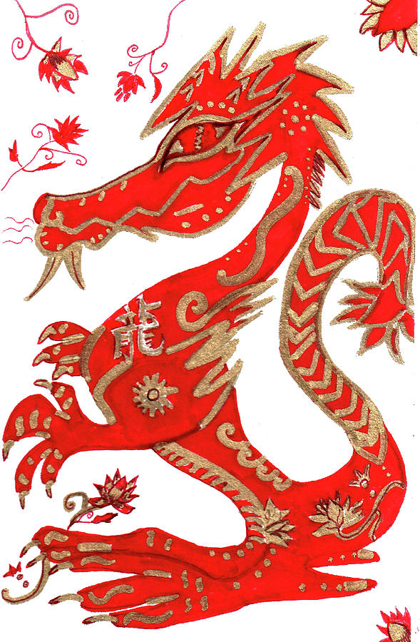 Chinese New Year Zodiac Dragon In Red Ink And Gold Leaf Fine Art Drawing On Bristol. Drawing - Chinese New Year Astrology Dragon by Barbara Giordano