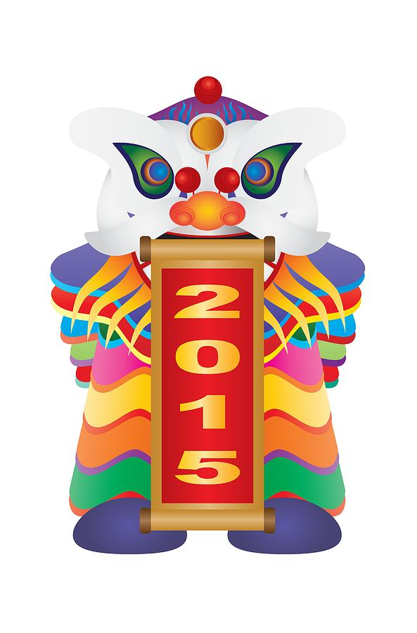Chinese New Year Lion Dance With 2015 Scroll Illustration Photograph ...