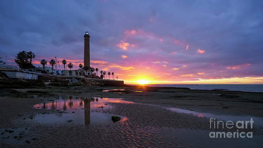 Chipiona Lighthouse At Dusk Cadiz Spain Photograph