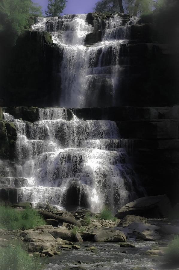 Water Digital Art - Chittenango Falls by DigiArt Diaries by Vicky B Fuller